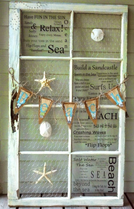 Coastal wall decor ideas with old window frames for Coastal wall decor ideas