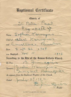 Quirky Baptismal Certificate for Sophia Karvojus (Sophie Karvoius) who was baptized in 1906. Issued by Sts. Peter & Paul Church, Elizabeth, NJ in 1924. Much of the information is incorrect. A lesson in using derivitive documents.
