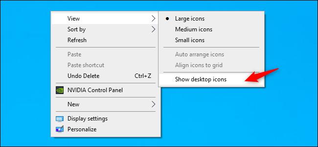 إظهار رموز سطح المكتب على نظام التشغيل Windows 10