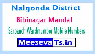 Bibinagar Mandal Sarpanch Wardmumber Mobile Numbers List Part II Nalgonda District in Telangana State