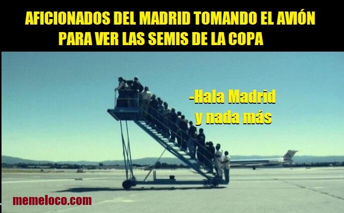 aficionados tomando avion para ver real madrid copa rey