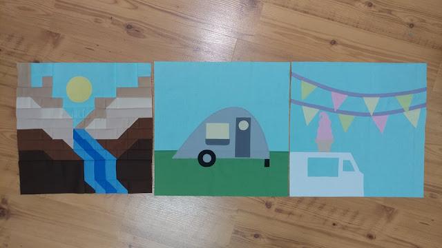Destination: Quilt Along quilt blocks 1 through 3