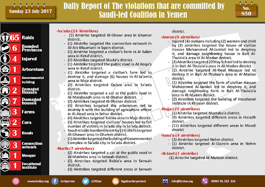 The Violations and Crimes that are committed by #Saudi_Arabia and its alliance in #Yemen 23/7/2017