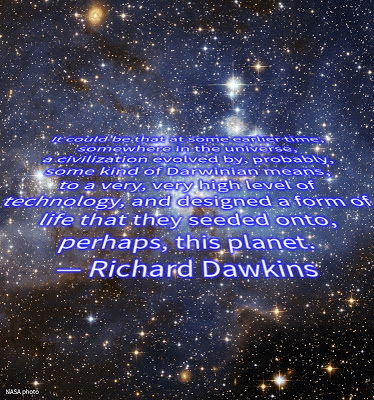NASA photo with Richard Dawkins quote on panspermia, Star Wars style