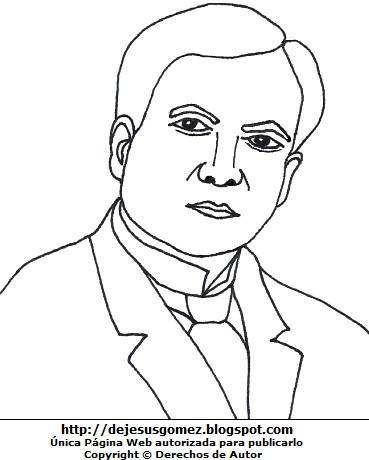 Ilustración de Rubén Darío para colorear o pintar. Dibujo de Rubén Darío hecho por Jesus Gómez