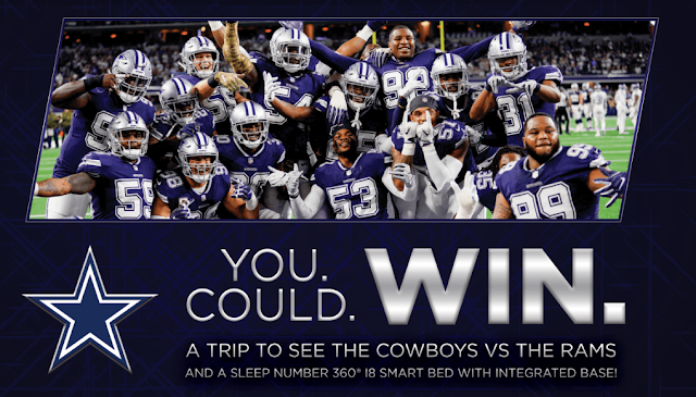 Sleep Number not only wants you to get a good night's rest with their Smart Bed, but also a chance to win a trip to see the Dallas Cowboys Vs The Rams!