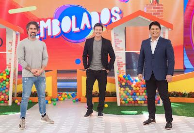 Marcos Mion, Rodrigo Faro e Cesar Filho. Crédito: Antonio Chahestian/ Record TV