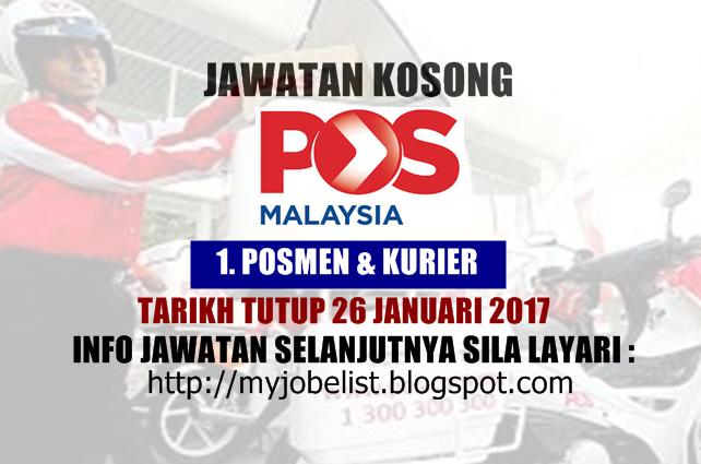 Jawatan Kosong Sebagai Posmen di Pos Malaysia Berhad Januari 2017