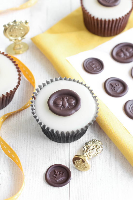 Chocolate Wax Seals on Poured Fondant Honey Cupcakes