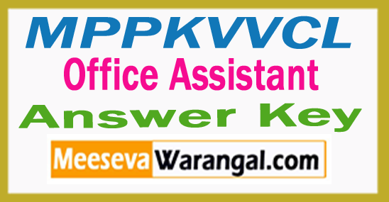 MPPKVVCL Office Assistant Answer Key 2017
