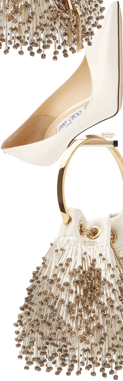 Perfect Pairings♦Jimmy Choo Love Neutral Leather Pumps and Bon Bon Beaded Satin Bag #brilliantluxury