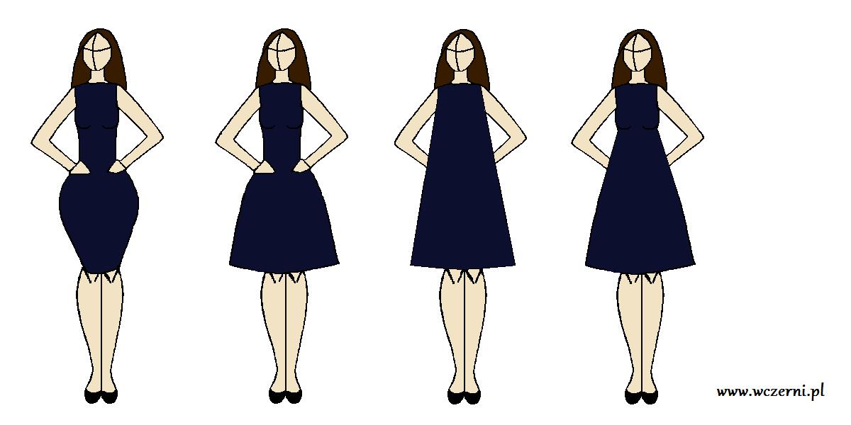 szerokie biodra wyszczuplone za pomocą odpowiednio dobranego fasonu sukienki