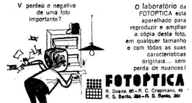 Serviço da Fotoptica nos anos 60 para cópia de fotos sem a necessidade de negativos