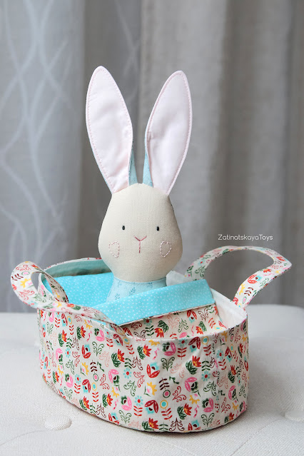 diy stuffed bunny doll or toy with cute kid Easter basket