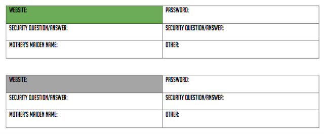 Free printable to keep track of your online passwords and security questions and answers