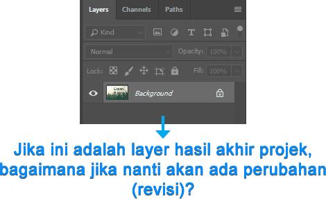 Layer hasil Flatten Image sulit untuk diedit