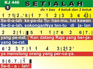 Lirik dan Not Kidung Jemaat 446 Setialah