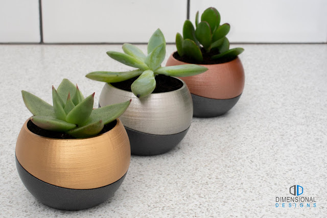 3D printed flower pots with tray from DimensionalDesignsGB on Etsy