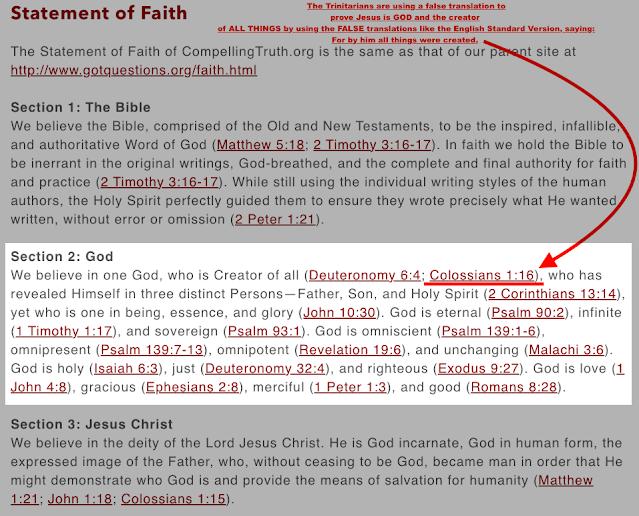 The FALSE Translations of Colossians 1:16