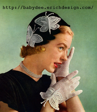 The Vintage Pattern Files: Free 1950's Crochet Pattern - Butterfly Hat and Gloves