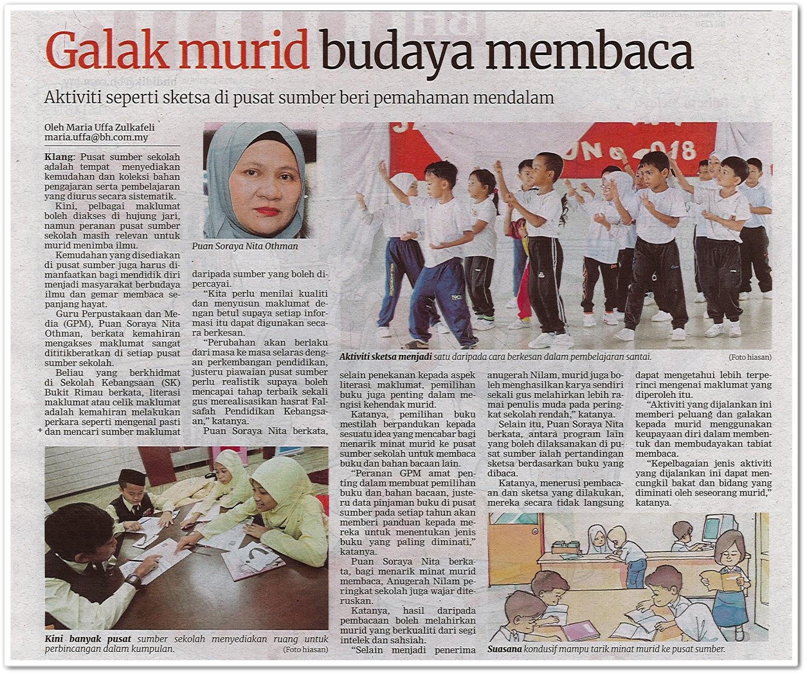 Galak murid budaya membaca - Keratan akhbar Berita Harian 7 Oktober 2019
