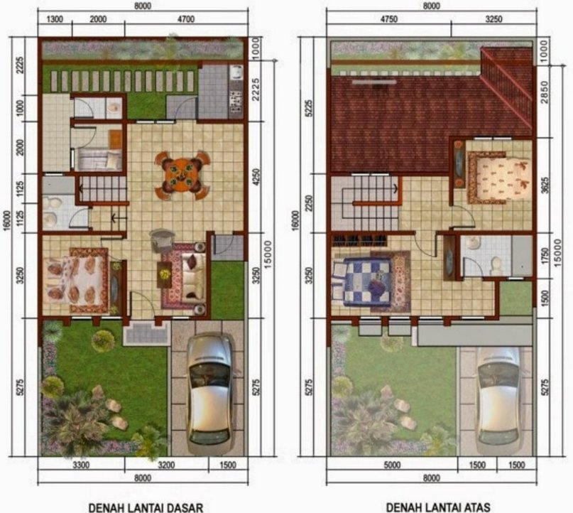 denah rumah 8x15 2 lantai yang modern