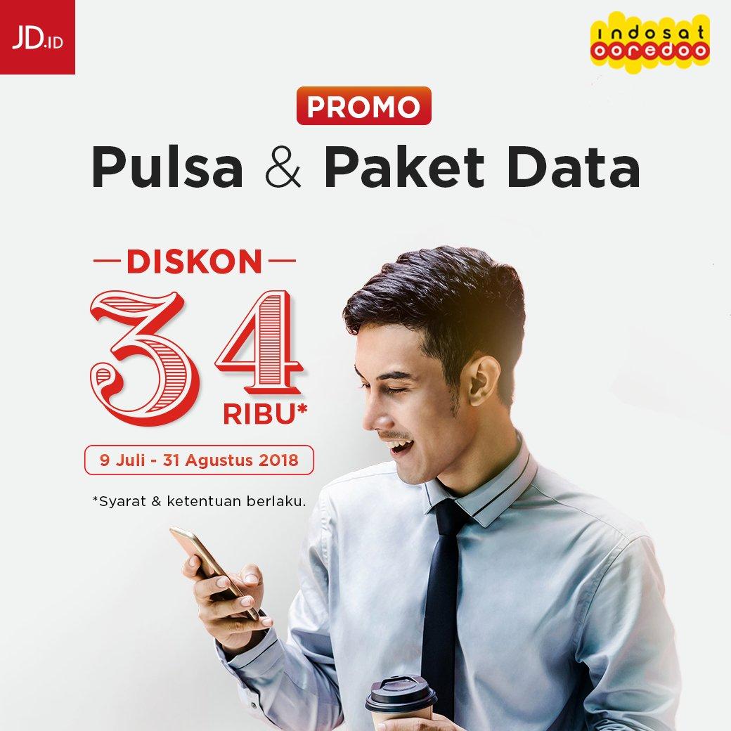 JD.id - Prom Diskon 34 Ribu Isi Pulsa & Paket Data (s.d 31 Agustus 2018)