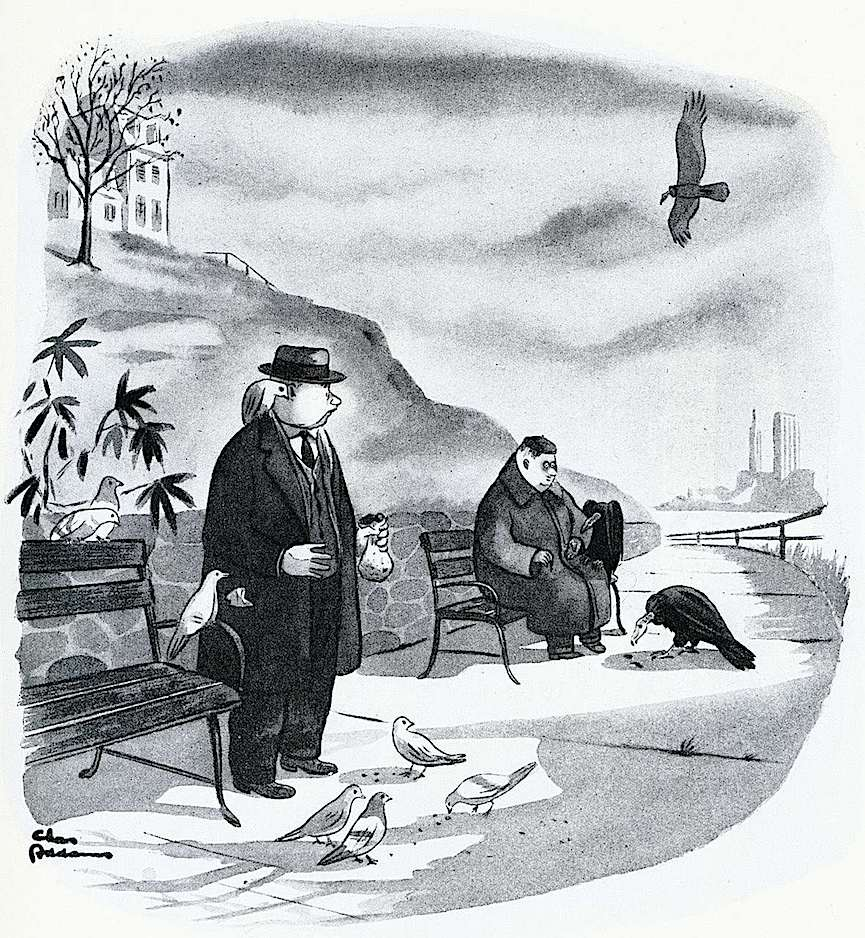 a Charles Addams cartoon, feeding the birds