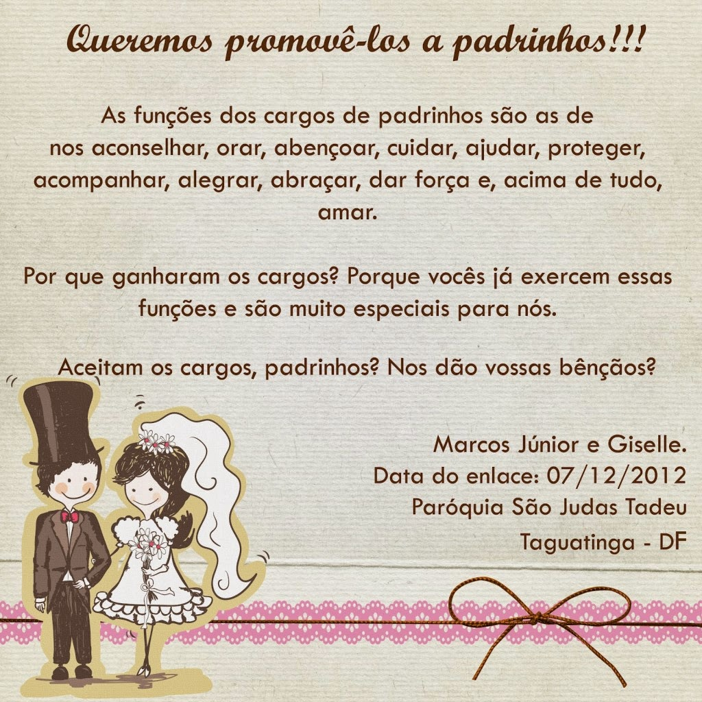 Frases Para Convites De Casamento Para Padrinhos