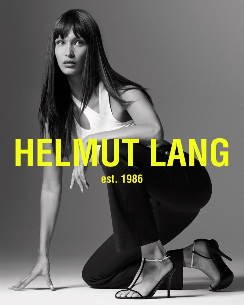 Model Bella Hadid poses for Helmut Lang spring-summer 2020 campaign