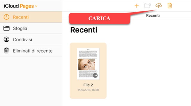 caricare file pages dal computer