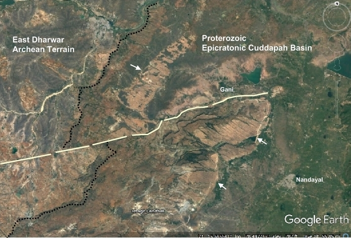 the black dotted line is the contact between the archean basement and the overlying proterozoic cuddapah basin sediments the linear structure is the left