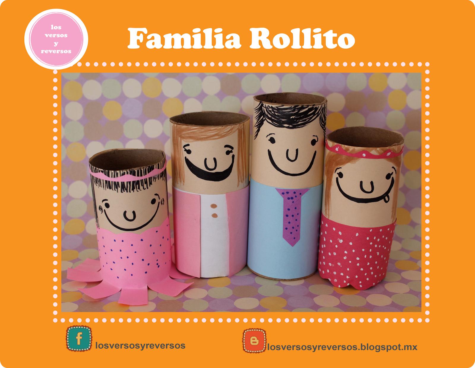 Familia rollito con tubos de carton