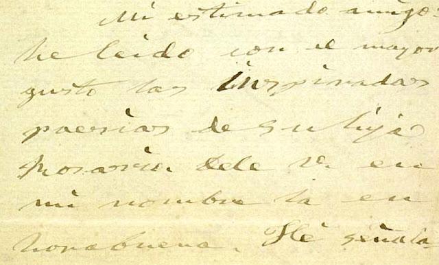 Fragmento de la carta que López de Ayala le envía a Felipe de Acuña