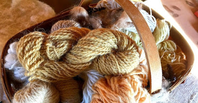 Twisted skeins of wool in multiple earth tones in a wooden basket