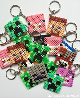 Hama bead Minecraft themed keyrings