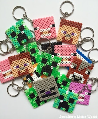Pile of Minecraft Hama bead keyrings
