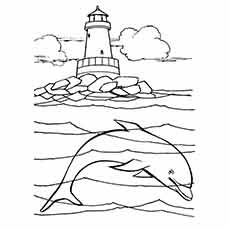 Best Dolphin Habitat Coloring Sheet For Print
