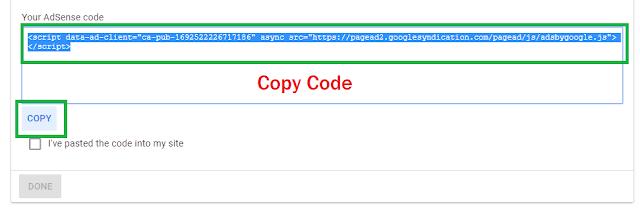 Copy Adsense verify code
