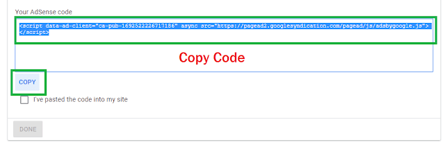 Copy Adsense verify code