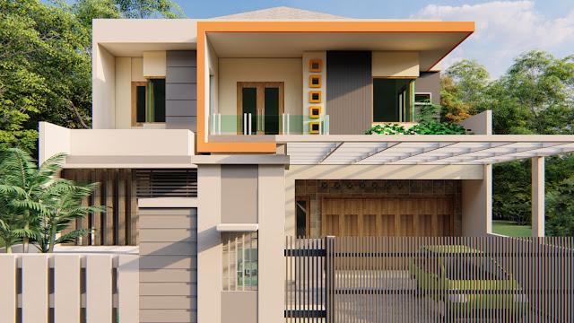 Desain Rumah 2 Lantai dengan atap setengah pelana, Tanjung Redeb