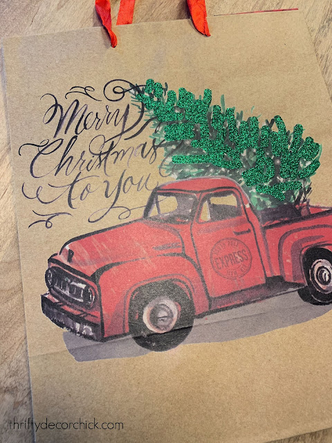 Merry Christmas bag with red truck