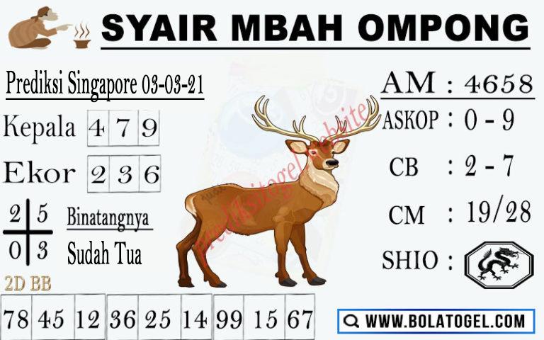 Syair Mbah Ompong SGP Rabu 03-Mar-2021