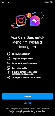 DM Instagram sekarang bisa pakai Messenger lho