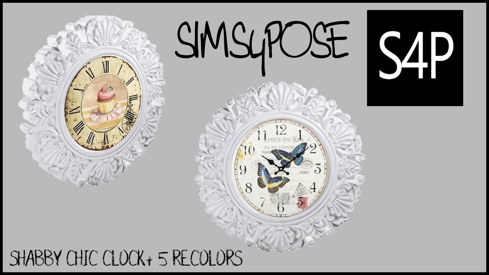 Sims 4 Pose Shabby Chic Wall Clock Decor