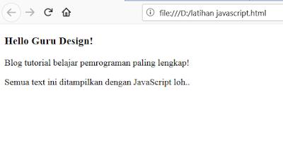 Pemrograman JavaScript-Membuat HTML dengan JavaScript Murni