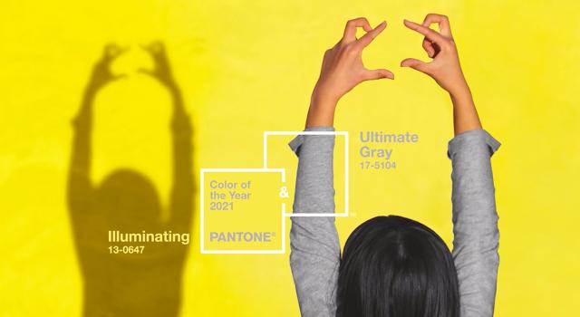 Pantone cor do ano 2021 amarelo e cinza