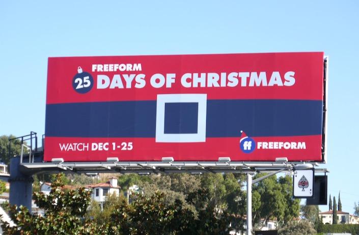 25 Days of Christmas Freeform Santas belt billboard