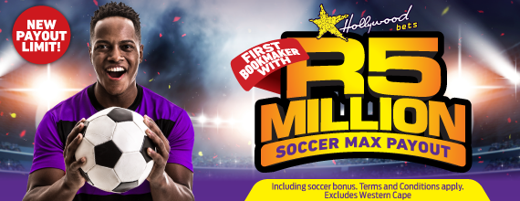 Win up to R5 Million on Soccer Betting with Hollywoodbets. New Max Payout.