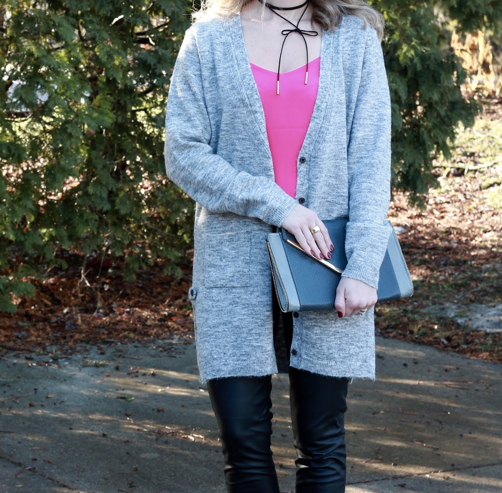 pink Barcelona cami, grey boyfriend cardigan, leather pants, pink heels, grey clutch, Valentine's Day look